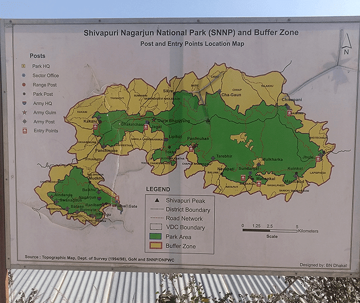 shivapuri national park map